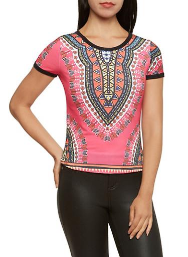 Ringer T-Shirt in Dashiki Print,MULTI COLOR,large