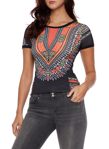 Dashiki Print Top with Crew Neck,MULTI COLOR,large