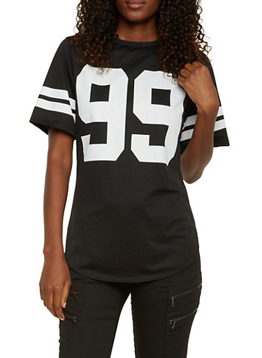 Varsity Top with Hustle 99 Graphic,BLACK,large
