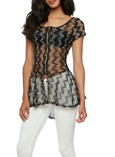 Open-Knit Crochet Top with Scoop Neck,BLACK,large