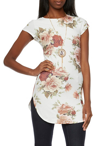 Floral Print Tunic Top with Removable Necklace,IVORY,large