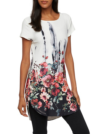 Floral Tunic Top with Short Sleeves,WHT/BLK,large