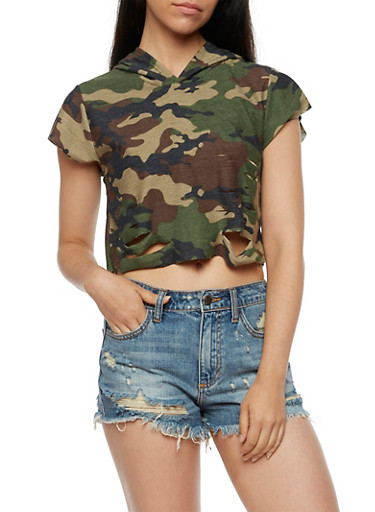 Short Sleeve Destroyed Hooded Camo Crop Top,OLIVE,large