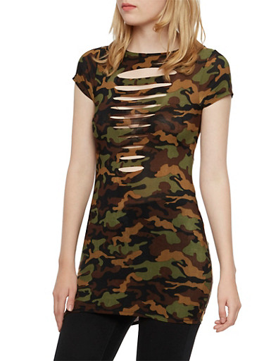 Camo Tunic Top with Slash Cuts,OLIVE,large