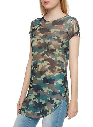 Camo Printed Mesh Tunic Top with Round Hem,OLIVE,large