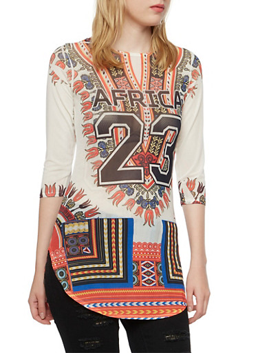 Dashiki Print Mesh Tunic Top with Africa 23 Print,WHITE MULTI,large