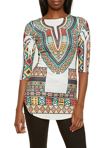 Dashiki Print Tunic Top with Three Quarter Sleeves,WHITE/RUST,large