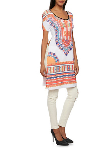 Dashiki Print Tunic Top with Split Sides and Scoop Neck,WHITE/NEON ORG,large