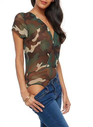 Camo Mesh Wrap Bodysuit,OLIVE,large