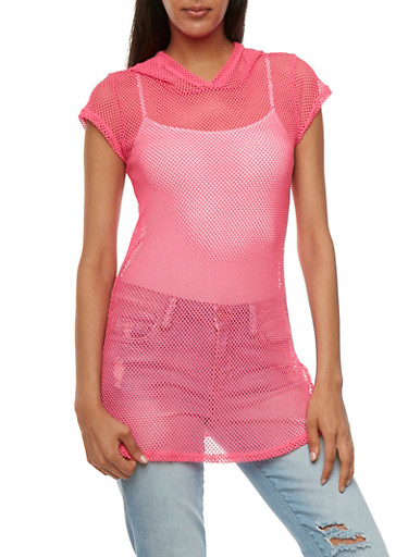 Hooded Mesh Tunic Top with Short Sleeves,NEON FUSCHIA,large