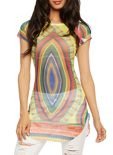 Sheer Mesh Abstract Print Tunic Top,MULTI COLOR,large