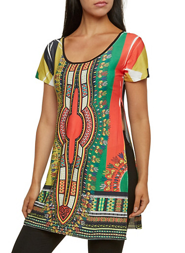 Dashiki Print Top with High Side Slits,BLACK MULTI,large