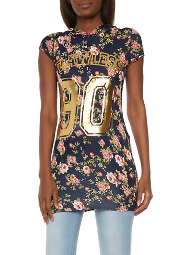 Hooded Floral Tunic Top with Flawless Graphic,NAVY/ROSE,large
