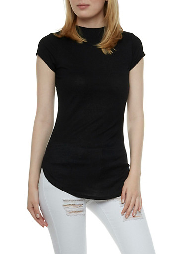 Ribbed Short Sleeve Top,BLACK,large