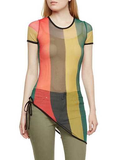 Striped Mesh Top with Asymmetrical Hem,MULTI COLOR,large
