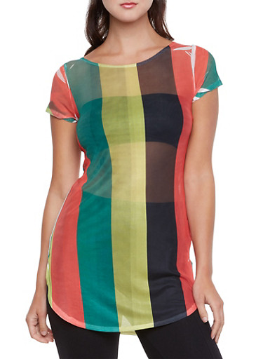 Mesh Tunic Top with Wide Vertical Stripes,WHITE/RED/BLUE,large