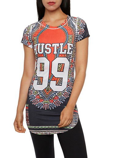 Dashiki Print Top with Hustle 99 Print,RED/BLK,large