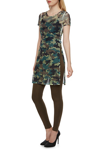 Mesh Split Side Tunic Top with Camo Print,OLIVE,large