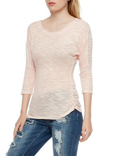 Almost Famous Marled Top with Crochet Paneling,BLUSH,large