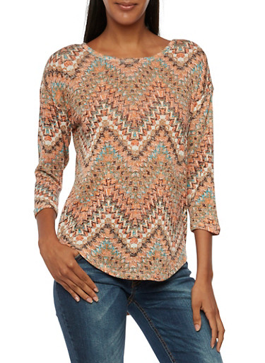 Almost Famous Top in Chevron Print,BURNT ORANGE,large