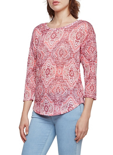 Almost Famous Top in Abstract Aztec Print,WINE ROSE,large