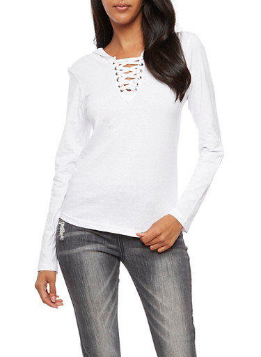 Long Sleeve Lace Up Hooded Top,WHITE,large