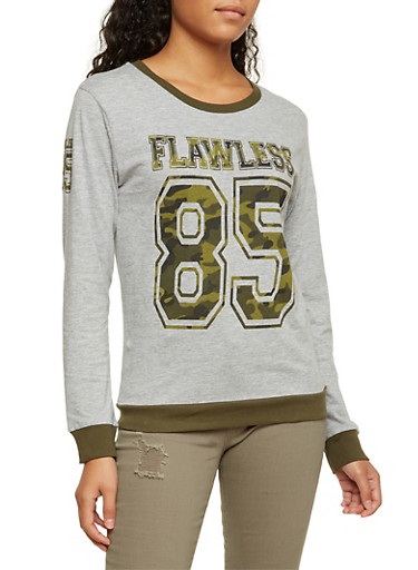 Long Sleeve Top with Camo Flawless 85 Graphic,HEATHER,large