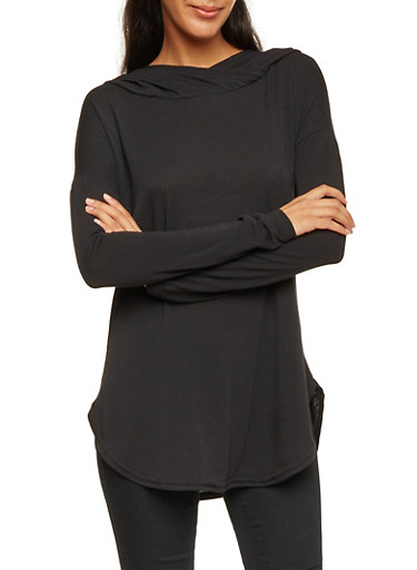 Hooded Top with Long Sleeves,BLACK,large