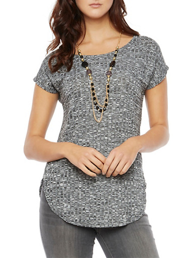 Marled Top with Removable Necklace,BLACK,large