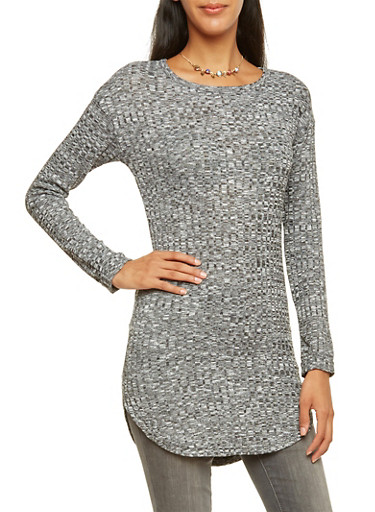 Marled Rib Knit Tunic Top with Necklace,BLACK,large