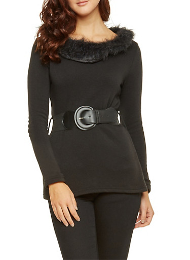 Belted Top with Faux Fur Trim,BLACK,large
