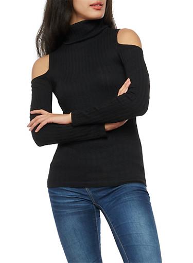 Long Sleeve Cold Shoulder Rib Knit Turtle Neck Top,BLACK,large