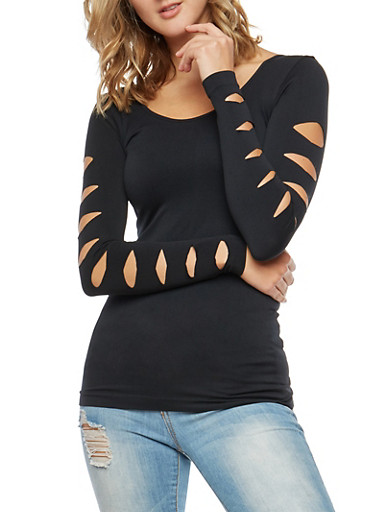 Seamless Laser Cut Long Sleeve Top,BLACK,large