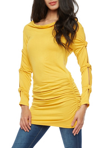 Knotted Slit Long Sleeve Ruched Tunic Top,MUSTARD,large