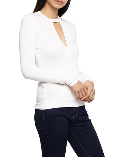 Long Sleeve Surplus Top with Choker Neck,IVORY,large
