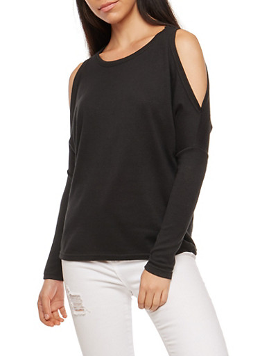 Dolman Sleeve Cold Shoulder Top,BLACK,large
