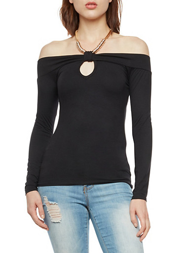 Off the Shoulder Top with Metallic Halter Neck,BLACK,large