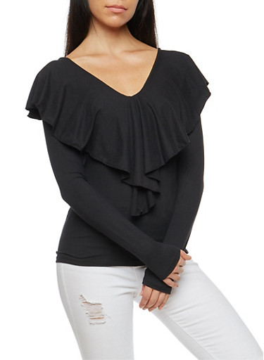 Lace Up Back Long Sleeve Top,BLACK,large