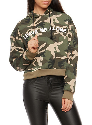 Leave Me Alone Camo Hoodie,OLIVE,large
