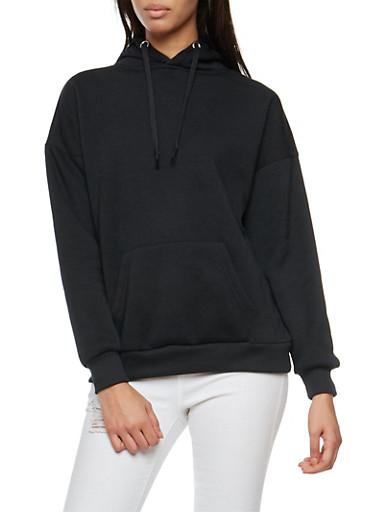 Solid Fleece Lined Hooded Sweatshirt,BLACK,large