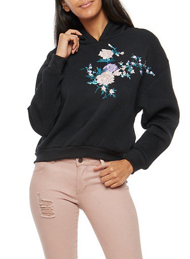 Floral Embroidered Cropped Hoodie,BLACK,large