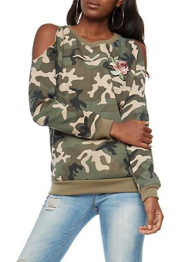 Rose Patch Camo Cold Shoulder Sweatshirt,OLIVE,large