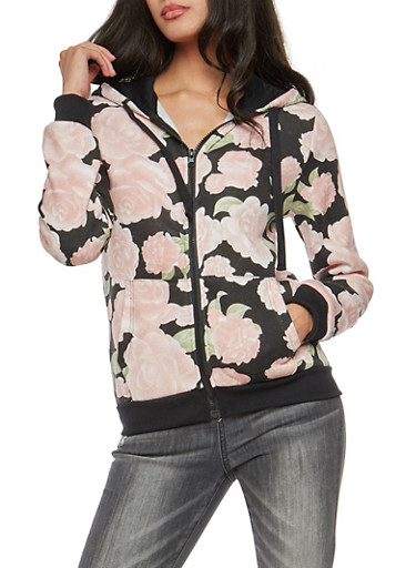 Long Sleeve Floral Fleece Hoodie,BLACK,large