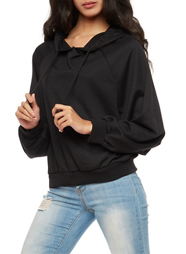 Long Sleeve Hooded Sweatshirt,BLACK,large