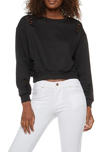 Distressed Cropped Sweatshirt,BLACK,large