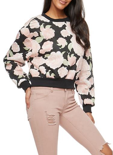 Distressed Rose Print Sweatshirt,BLACK,large