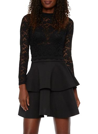 Lace Crop Top with Scalloped Hem,BLACK,large