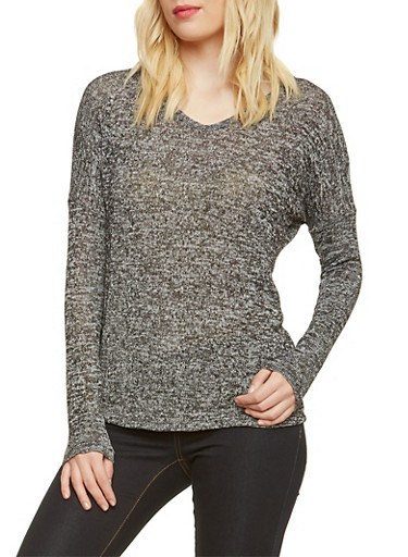 Knit Long Sleeve Top with V-Neck,BLACK,large