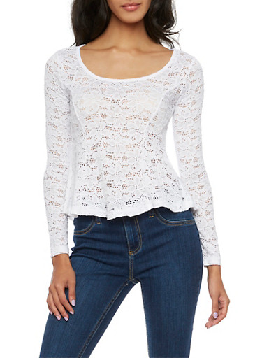 Flared Lace Top with Long Sleeves,WHITE,large