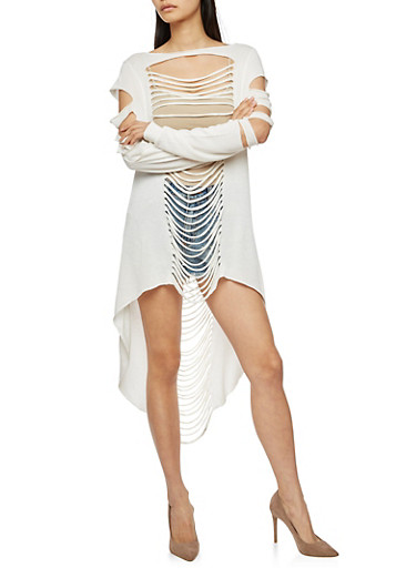 Long Sleeve Laser Cut High Low Top,WHITE,large